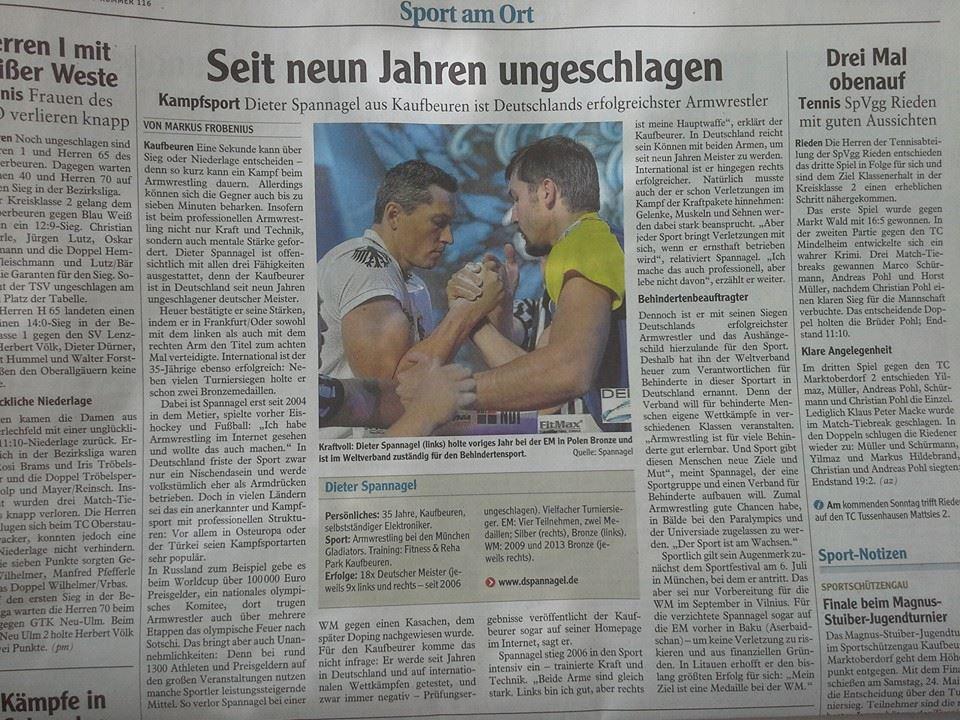 Allgäu Zeitung Spannagel Dieter Armwrestling 21.05.2014