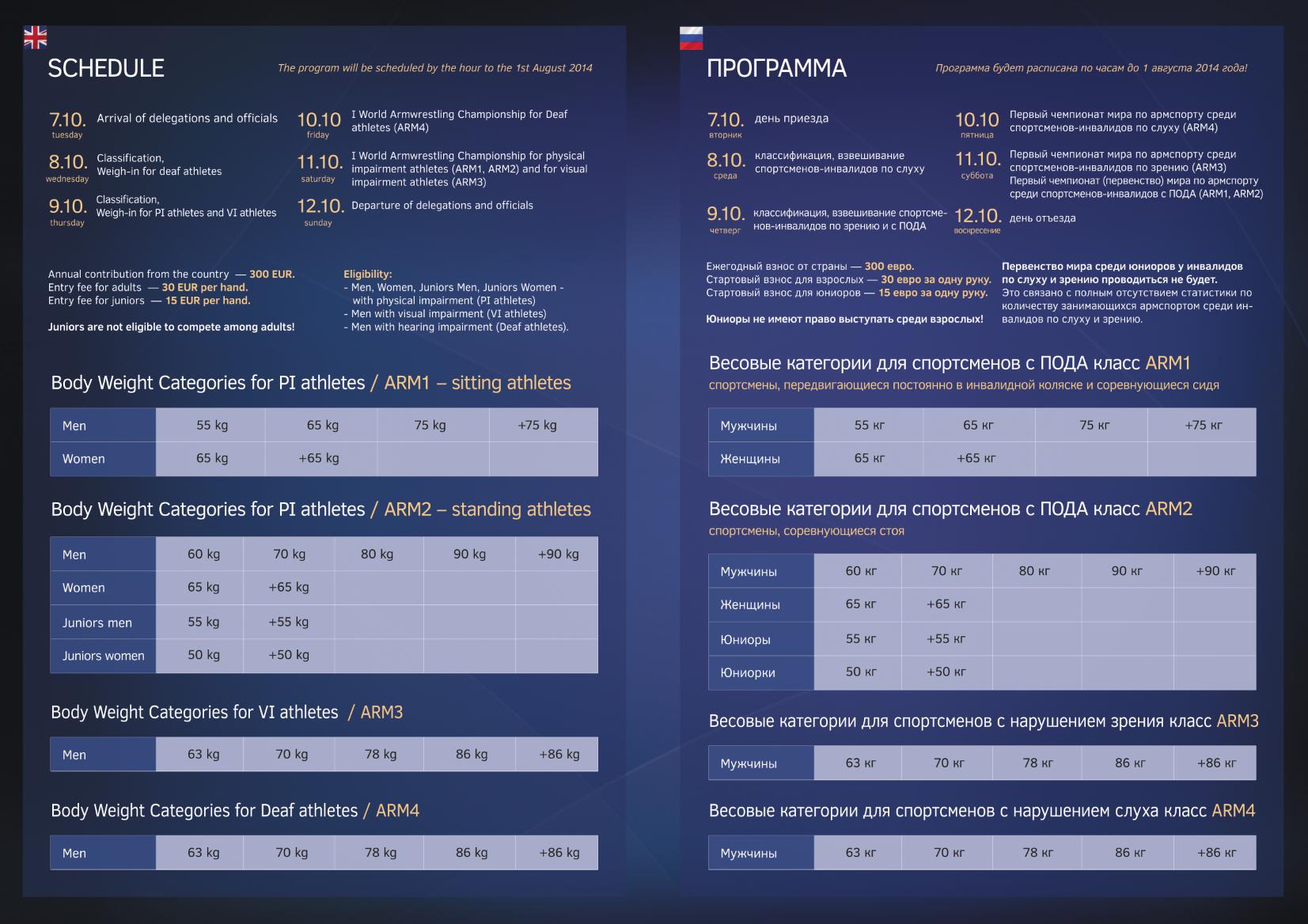 Programm Weltmeisterschaft 2014 Behinderten Armsport2