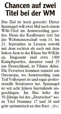 Allgäu Zeitung vor WM Bericht