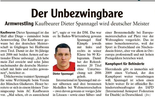 Dieter Spannagel der unbezwingbare - Bericht Allgäu Zeitung